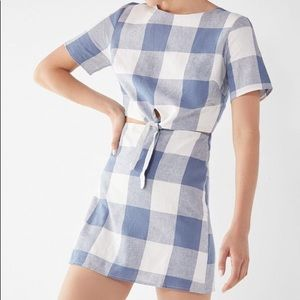 NWT Lucia Couture Kennedy Tie-Front Gingham Dress